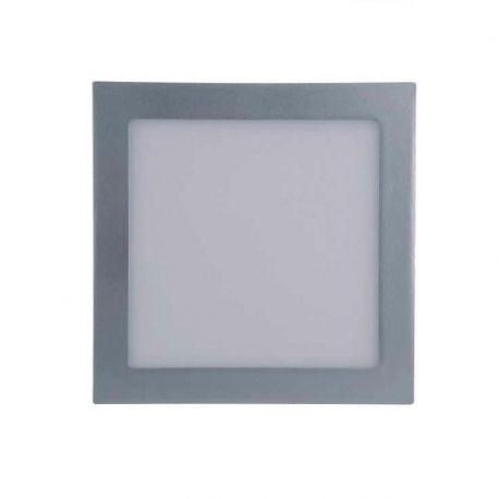 Downlight led de 18W Cuadrado, Luz Calida, Cerco Plata Quoled