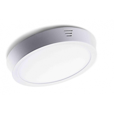 Downlight Plafón led de 18W Redondo, Luz Calida, Cerco Plata Quoled
