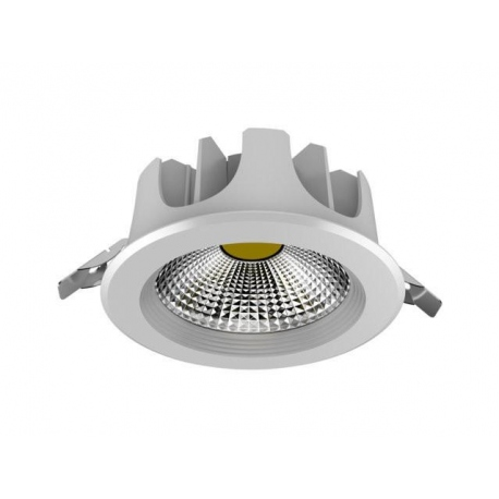 Downligh Cob Led de 20W Redondo, Luz Calida, Cerco Blanco Quoled