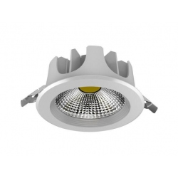 Downlight Cob Led de 20W Redondo, Luz Fría, Cerco Blanco Quoled