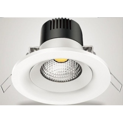 Downlight Cob Led de 30W Redondo, Luz Calida, Cerco Blanco Quoled